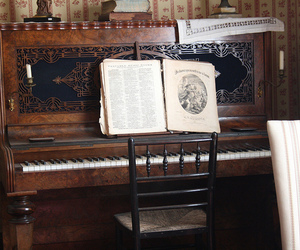 old, piano, and sheet music image