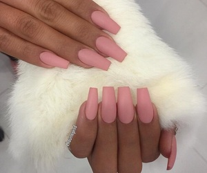 nails, long, and pink image