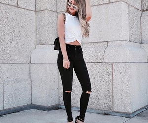 balck and white, black jeans, and clothes image