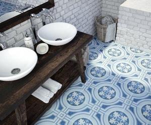 bathroom, blue, and indie image