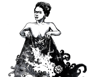 art, black and white, and frida kahlo image