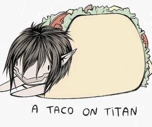 attack on titan, anime, and tacos image