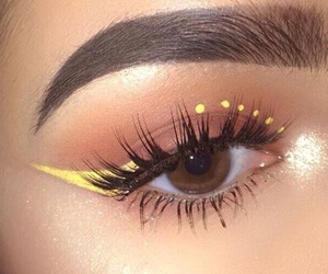 lashes, brown eyes, and yellow image
