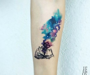 tattoo, book, and color image