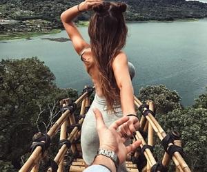 beauty, hair, and lake image