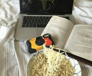 book, camera, and noodle image