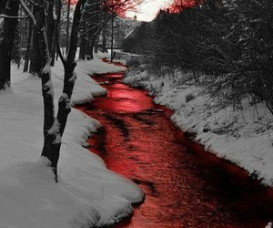 red, snow, and blood image