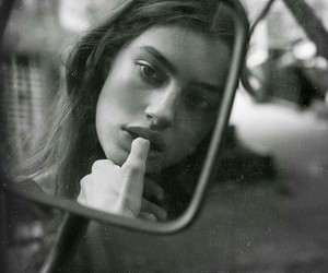 girl, black and white, and mirror image
