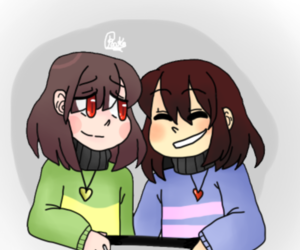 chara, frisk, and undertale image
