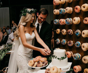 wedding, donuts, and couple image