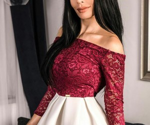 chic, dress, and red and white image