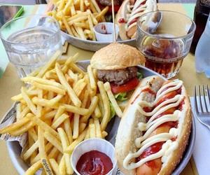 food, fries, and burger image