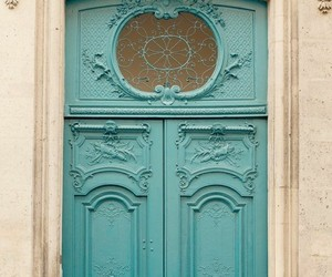 architecture, teal door, and teal and cream image