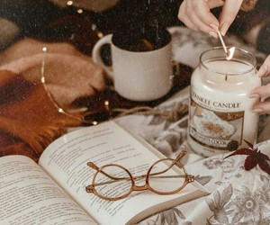 book, candle, and cozy image