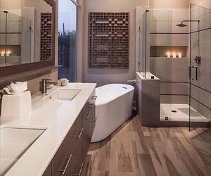 bath tub, decorate, and bathroom image