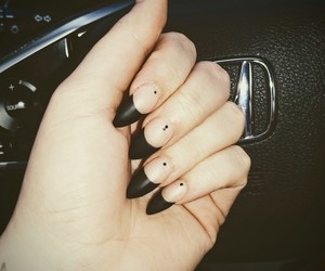 black nails, dots, and nails image