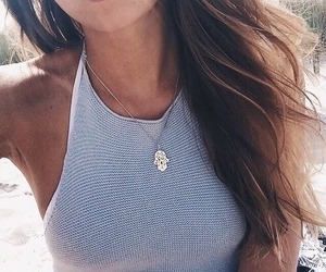 brunette, hair, and necklace image
