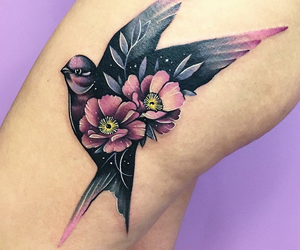 bird, flowers, and ink image