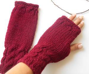 fingerless, bordeaux, and winter gloves image