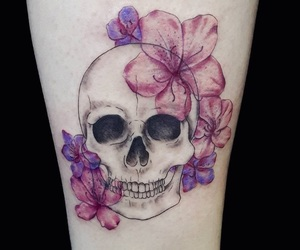 flower, pink, and skull image