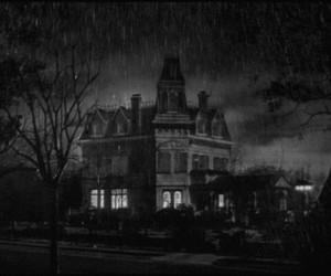 black and white, rain, and house image