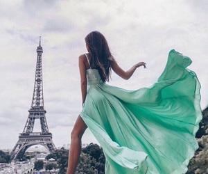 paris, green, and dress image