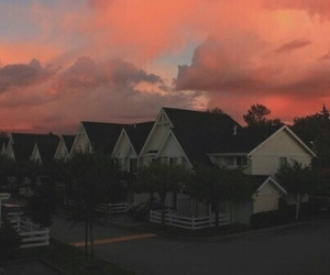 sky, house, and sunset image