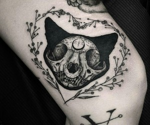 black, cat, and ink image