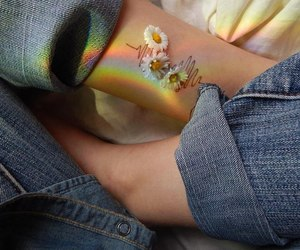 flowers, jeans, and rainbow image
