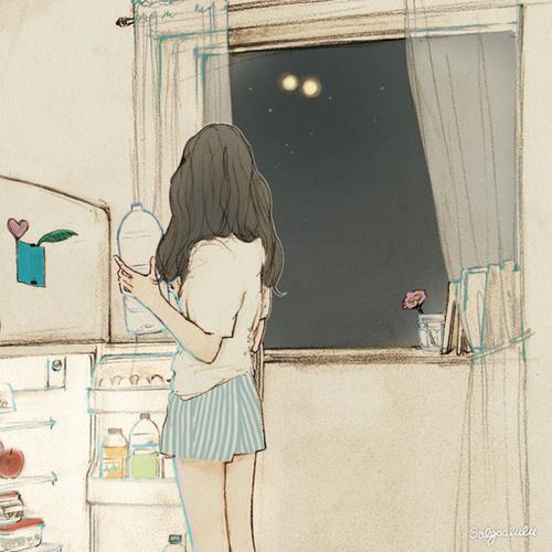 art, girl, and night image