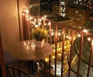 balcony, city, and light image