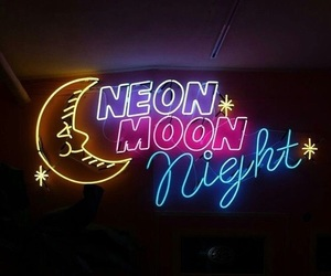 neon, moon, and night image