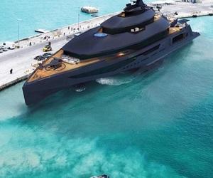 black, luxury, and yacht image