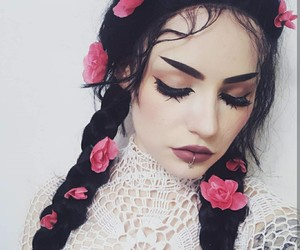 flower, hair, and makeup image
