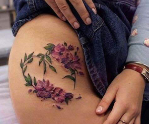 flowers, inked, and leg image