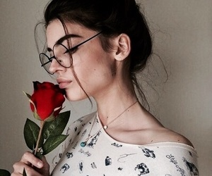 girl, beauty, and rose image