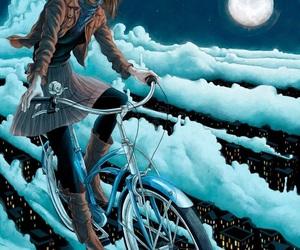 girl, moon, and art image