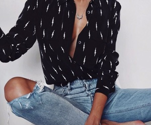 black, blouse, and outfit image