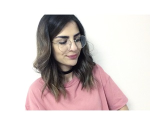 choker, ombre hair, and glass image