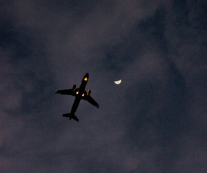 sky, moon, and airplane image