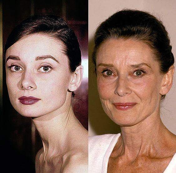 audrey hepburn, old, and young image