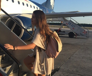 girl, travel, and plane image