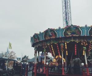 amusementpark, autumn, and carousel image