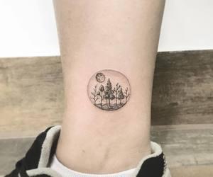 leg tattoo, moon tattoo, and tree tattoo image