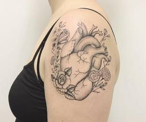 flower tattoo, shoulder tattoo, and realistic tattoo image