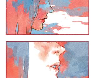 manga, watercolor, and yuri image