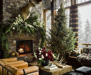 christmas, design, and fireplace image