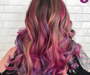 colored hair, curls, and dyed hair image