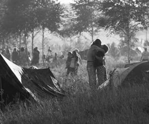 black and white, couple, and camp image