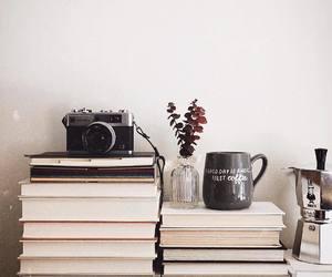 books, mug, and vintage image